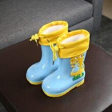 Botas de lluvia para niños y niñas, zapatos impermeables antideslizantes con estampado de dinosaurio 3d, con forro cálido de felpa, novedad