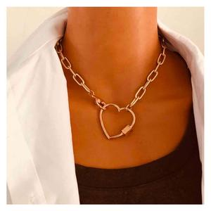 Lislesp Punk Choker Chunky Chain Gold Color Carabiner Metal Heart Necklace For Women Vintage Statement Collar Party Jewelry