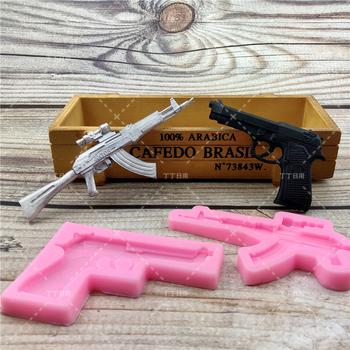 DIY pistolet AK pistolet kształt mydło kremówki 3D formy silikonowe do ciasta Cupcake galaretki cukierki czekoladowe dekoracje przyrząd do pieczenia formy tanie i dobre opinie Doinb Ciasto narzędzia Lfgb Ce ue Ekologiczne FQ3320-3693