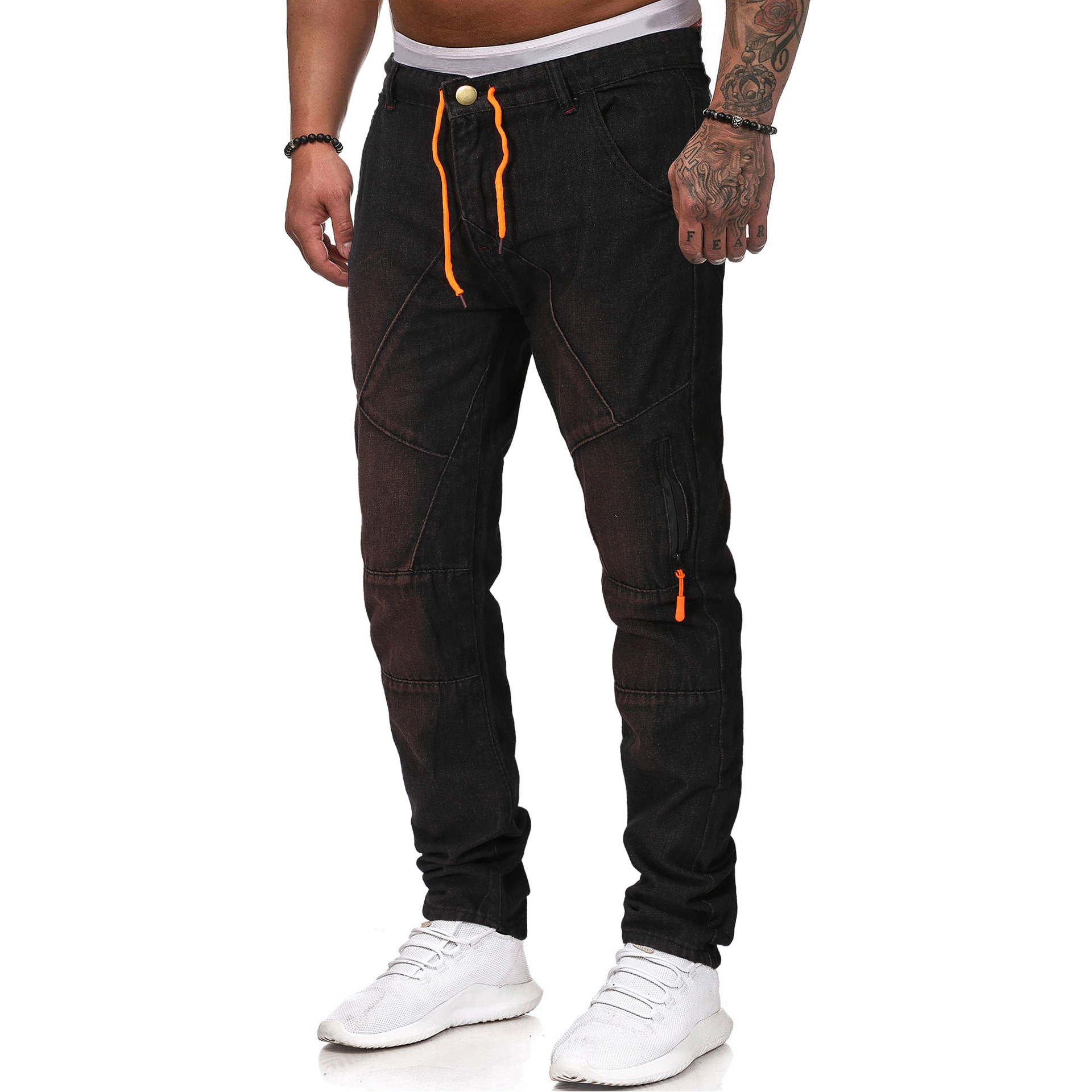 2019 Summer New Style Men's Versitile Fashion Jeans Casual Washing Retro Drawstring Slim Fit Trousers