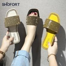 SHOFORT נשים נעלי אופנה נעליים מגניבים קיץ חיצוני נעלי מזדמנים נעלי בית נעלי בית תחתון החלקה ריינסטון בלינג