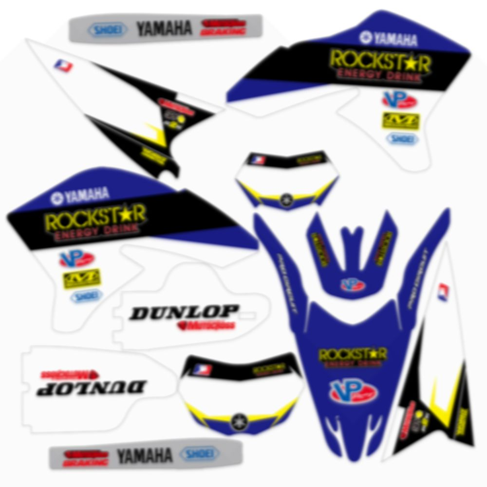 Blue Full Graphics Decals Stickers Custom Number Name 3M Bright Stickers Waterproof For YAMAHA WR250R 2008