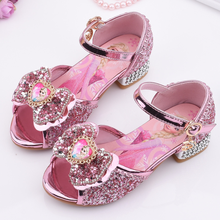 Disney Elsa Princess Girls Sandals Frozen Cartoon Dress Shoes For Girls Fashion Party Shoes With High Heels Christmas Gift