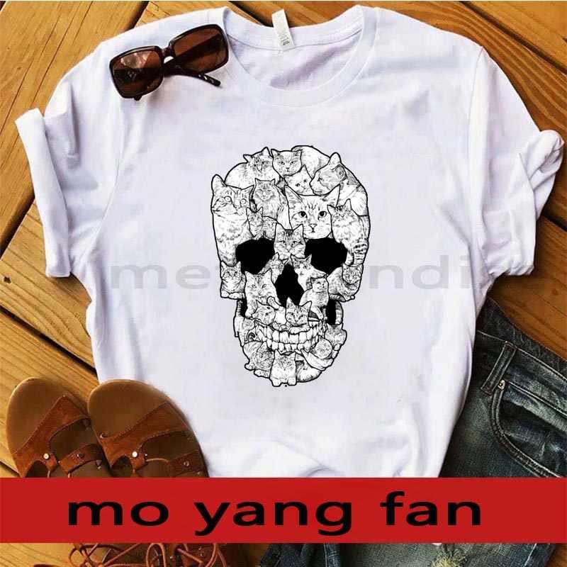 جديد قميصا نموذج بالحجم الطبيعي الجمجمة-الجمجمة القط t-shirt. التي شيرت