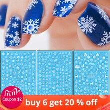 Autocollants 3D pour ongles, étiquette motif thème de noël, étiquette mixte cerf/flocons de neige, pointes de décoration pour ongles bricolage, LAF281 284