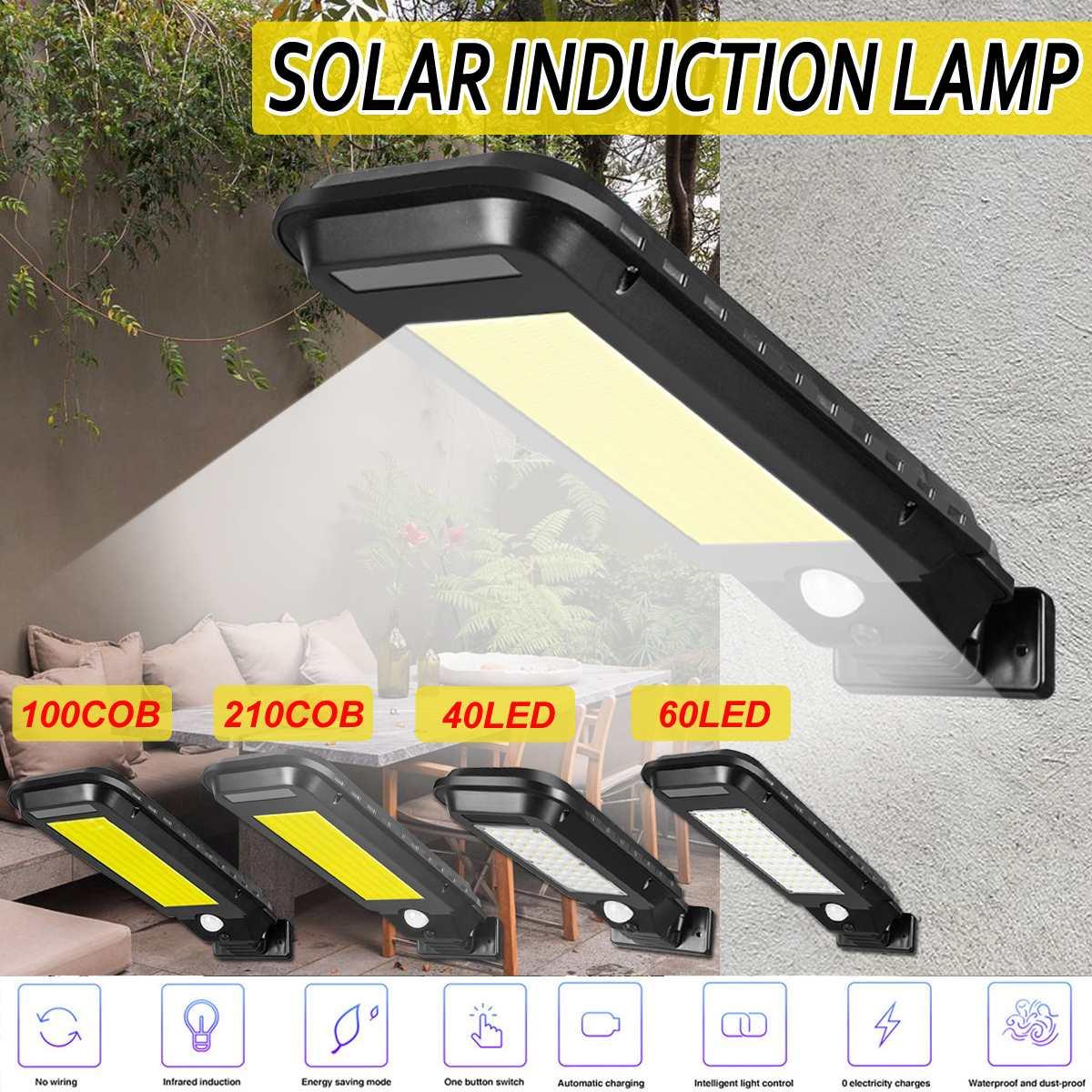 40/60 Led إضاءة للشارع بالطاقة الشمسية 100/210 COB إضاءة خارجية إضاءة أمان محس حركة مقاوم للماء IP65 أبيض/أصفر الجدار مصباح