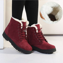 Zapatos de mujer botas de tobillo de invierno zapatillas de deporte de piel caliente zapatos casuales de mujer 2019 zapatillas de encaje sólido zapatos de mujer botas de Mujer