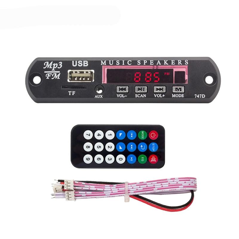 Car MP3 WMA FM AUX Decoder Board DC 5V 12V USB AUX 3.5MM TF Radio Audio Player Module With Automobile Remote MP3 Music Speaker