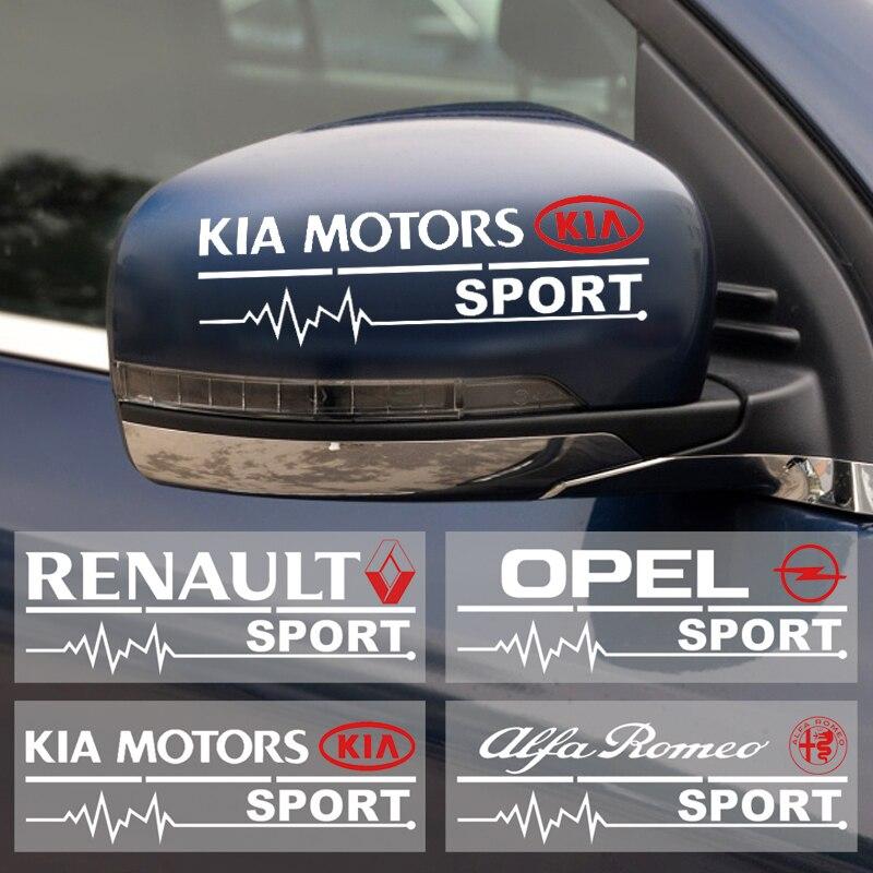 2pcs Car Rearview Mirror Sticker For Mitsubishi BMW Audi Chevrolet Ford Toyota Honda Kia Jeep Fiat Volvo Renault SUZUKI Hyundai
