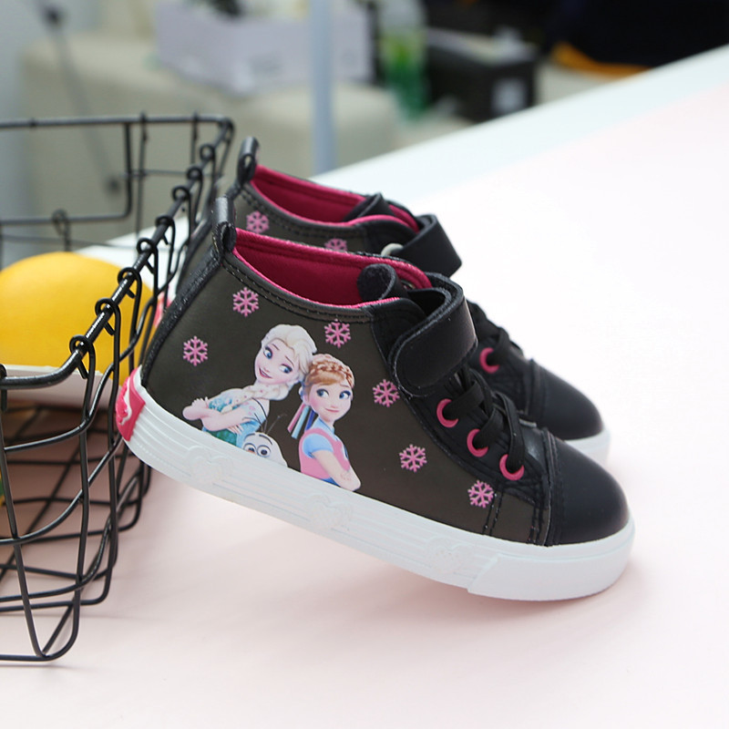 Cute Princess Frozen Elsa Anan Casual Shoes Girls Soft Breathable Sports Shoes Europe Size 25-30