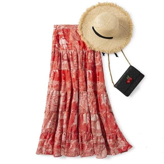 Kadın Giyim'ten Etekler'de Kadın Etek 2019 Erken Sonbahar Ipek Pamuk Yeni Vintage Rüzgar Baş Döndürücü Boya yüksek bel etek plaj elbisesi'da  Grup 1