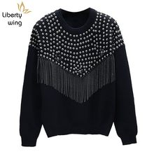 Fashion Women Knitted Rivets Studded Sweater Long Sleeve Loose Fit Beading Tassels Tops Knitwear Casual Streetwear Pullover Top(China)