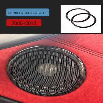 Carbon Fiber Car Door Speaker Decorative Circle Sticker Loudspeaker Trim For BMW E90 320i 325i E84 X1 Accessories 2005-2012 image