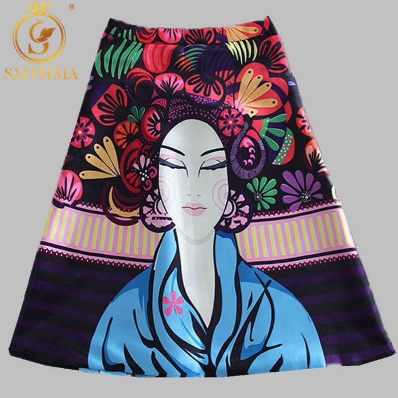 SMTHMA Women Patterns Skirt Women Fashion Satin Runway Skirt Vintage Retro Rose Floral Print Pleated Skirt