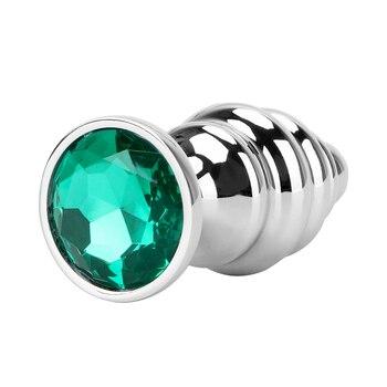 Spiral green diamond anal plug