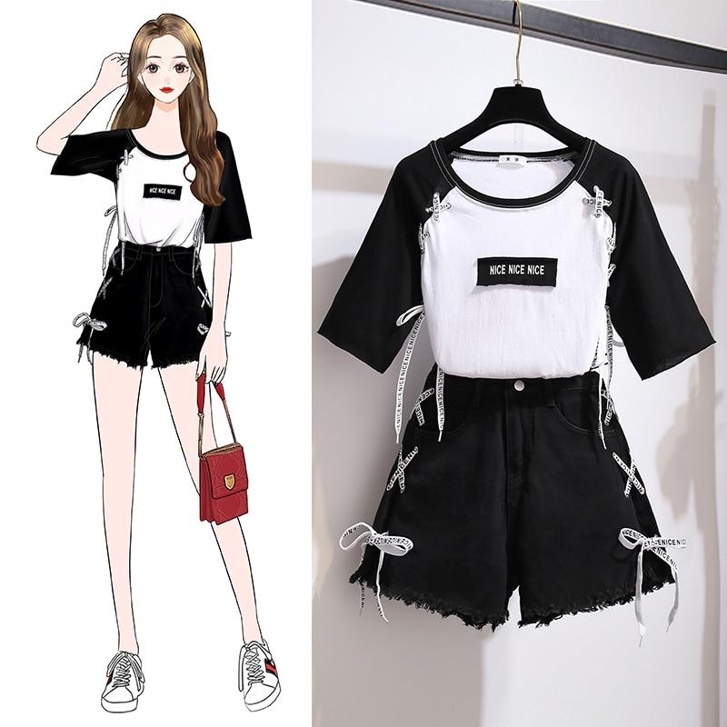 2020 Summer Korean Two Piece Set Women Patchwork Bandage T-shirt + Side Bandage Denim Shorts Set For Girt Student Black Suits