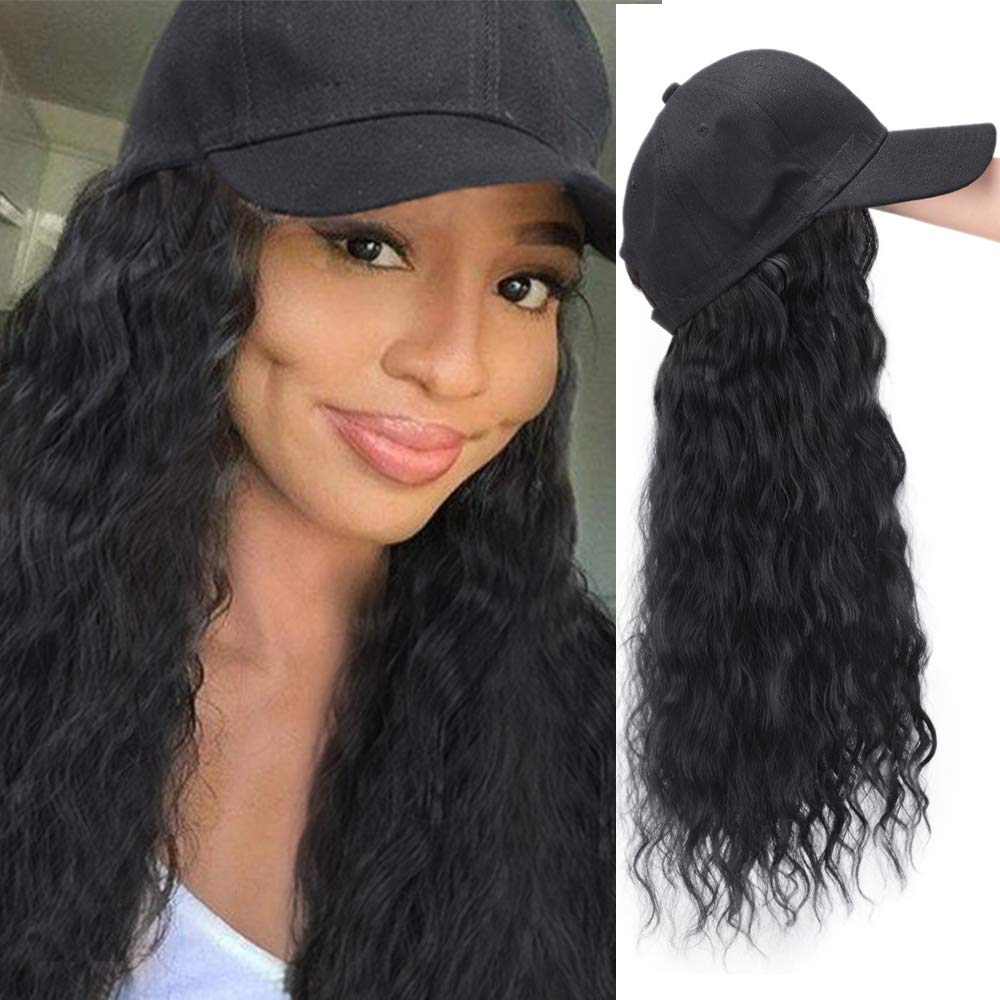 Black Star Synthetic Long Wave Baseball Cap With Hair Brown Black Wavy Women Wig Hats With Hair Wavy Extensions