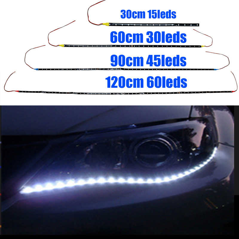 led strip 12v 3528smd 120/ 90/ 60/ 30CM cold white waterproof Red Green Blue Yellow LED Light Strip for car interior motorcycle