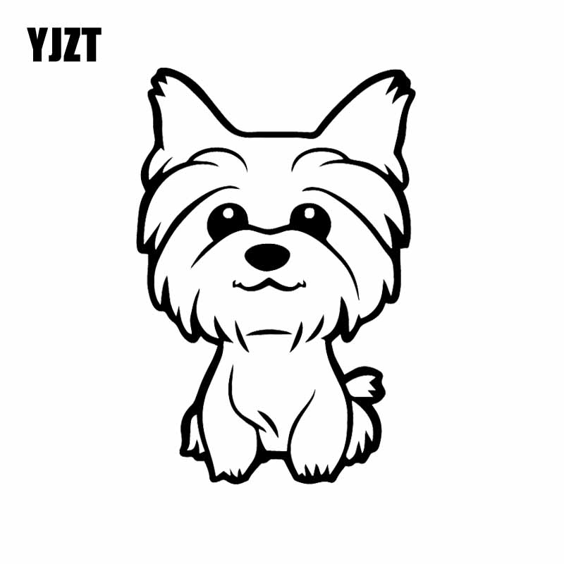 YJZT 10.8X16CM Yorkie Yorkshire Terrier Doggy Decal Cute Fun Dog Car Window Vinyl Car Sticker Black/Silver C24-1633
