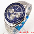 24 часа 40 мм CORGEUT синий циферблат из нержавеющей стали ремешок Кварцевые Полный хронограф мужские часы 177