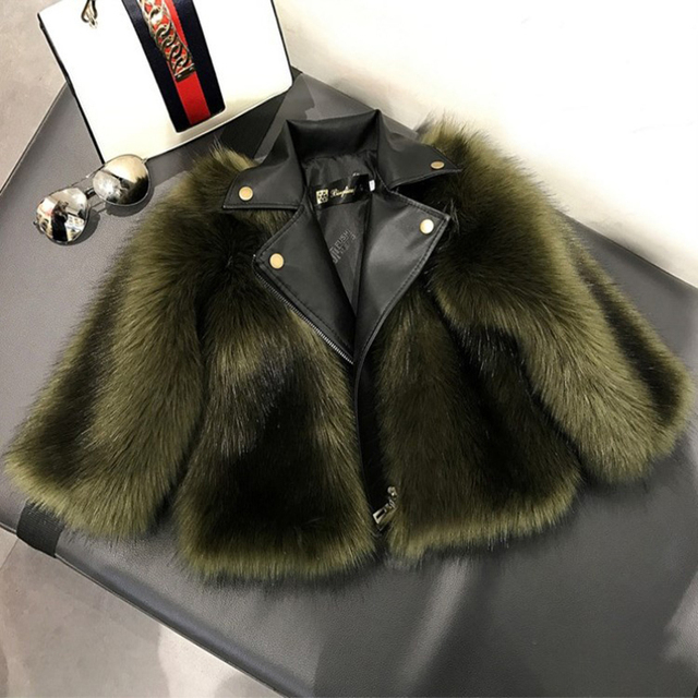 Fashion Baby Winter Outerwear & Coats Children's Coat Kids Faux Fur Fabric Clothes Fur Coat 2-10 Years Baby Girl Leather Jacket