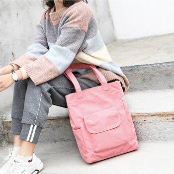 Women's 2020 bags handbags handbags Casual Women's Canvas Student Handbag Solid Color Reusable Waterproof Shoulder Shopping Bag