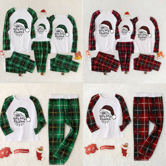 Christmas Family Long Sleeved Plaid Pajamas