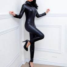 2020 Baru Wanita Kulit Paten Jumpsuit Vinyl Lateks Diikat Catsuit Zip Wetlook Leotard Bodysuit Kurus Jumpsuit Seksi(China)