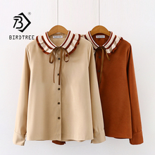New Arrival Women Color Block Long Sleeve Blouse Lace Up Bow Tie Pleated Collar Top Office