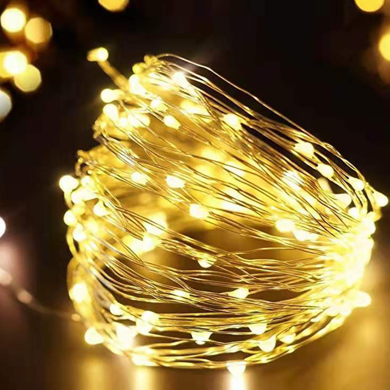 LED String Lights Silver Wire Garland Powered By 5V Battery USB Fairy Light Home Christmas Wedding Party Decoration