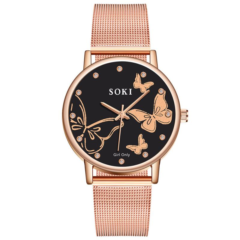 Luxury Rose Gold Watch Women Special Design Butterfly Dial Diamond Watches Mesh Band Exquisite Ladies Quartz Wristwatches 2019