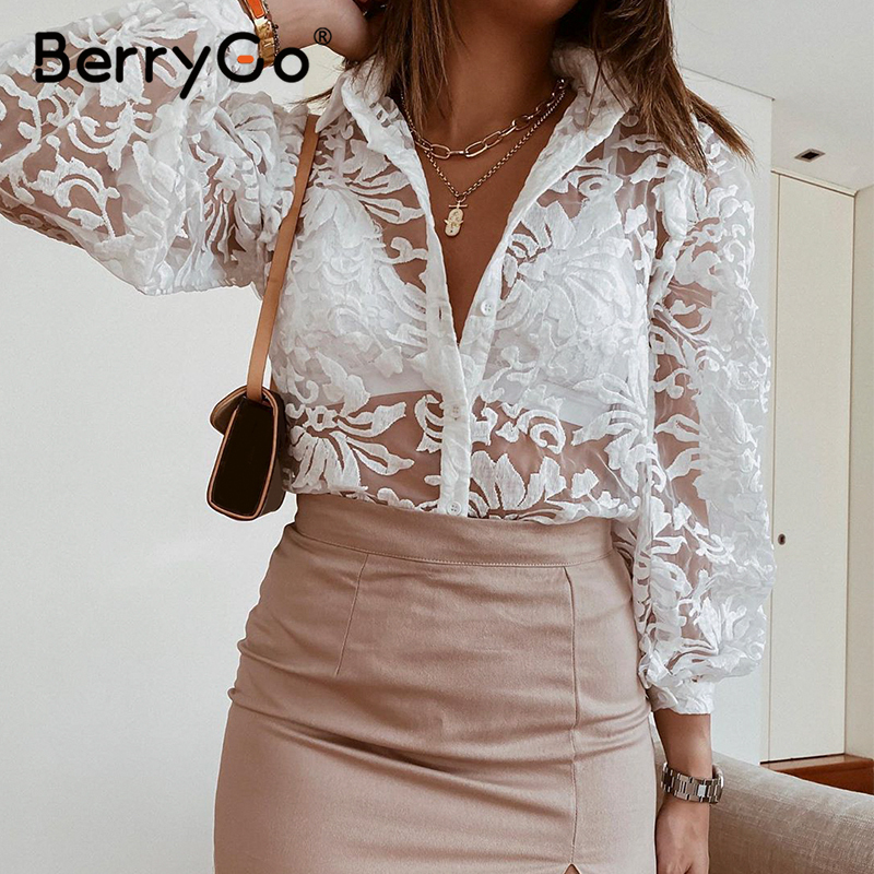 BerryGo Vintage embroidery lace women blouse shirt Long sleeve button white female top shirt Elegant office ladies chic blouses