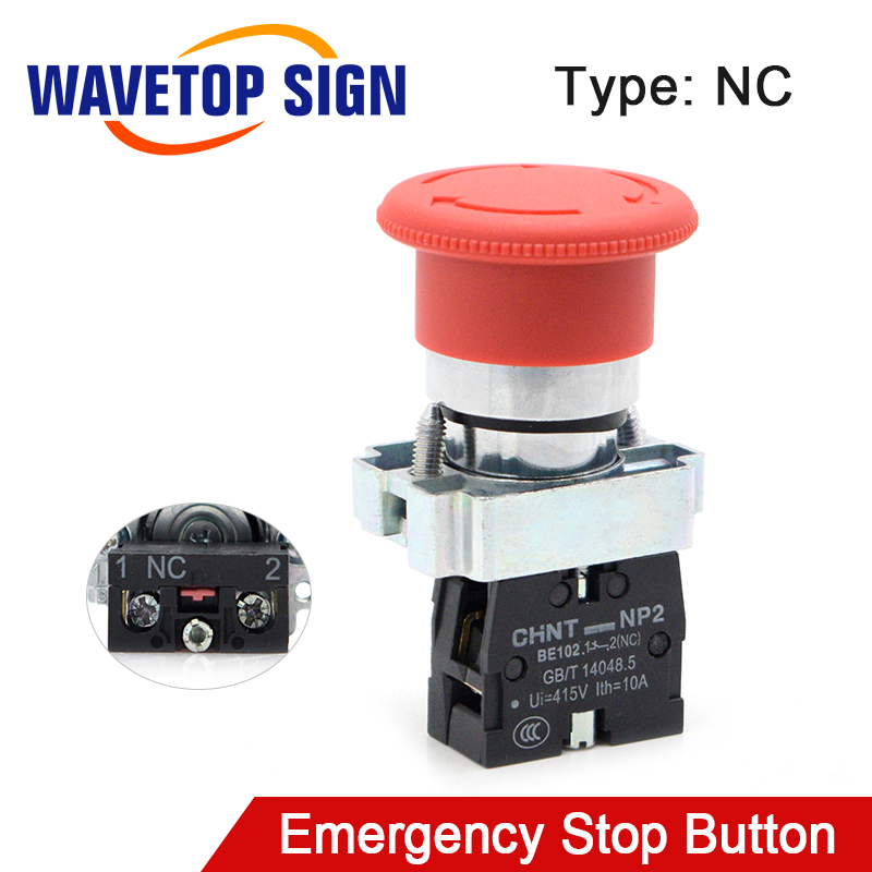 WaveTopSign Emergency Stop Button NC Rated Current 10A For CO2 Laser Engraving Cutting Machine