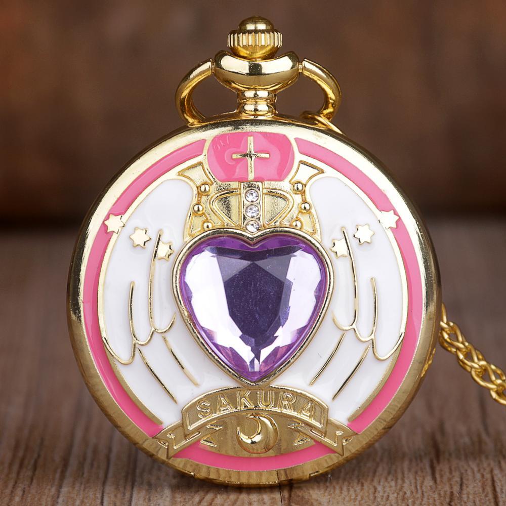 Hot Animation Lovely Sakura Sailor Moon Cosplay Quartz Pocket Watch FOB Chain Necklace Pendant Boy Girl Pocket Watches Gifts