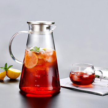 1600ML Transparent Glass Cold Water Jug Kettle Juice Container Bottle Heat Resistant Large Glass Teapot Glass Water Pot simple ceramic jug with handle cover 1 5l water kettle water jug juice pot home used office used suit for cold and boiling water