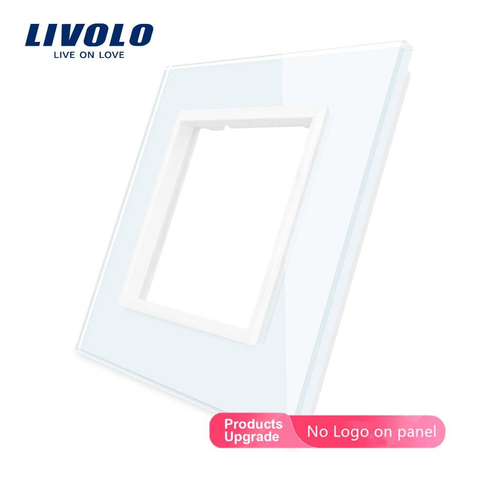Livolo, роскошный стеклянный переключатель с черным жемчугом, 80 мм * 80 мм, по стандарту ЕС, для самостоятельной сборки, одинарная стеклянная панель, VL-C7-SR-12