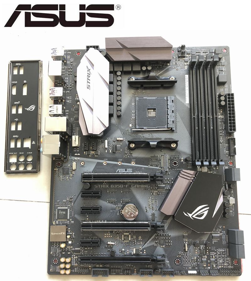 Asus ROG STRIX <font><b>B350</b></font>-F GAMING Motherboard REPUBLIC OF GAMERS <font><b>AMD</b></font> <font><b>B350</b></font> socket for <font><b>AMD</b></font> AM4 Desktop Motherboard used pc mainboard image