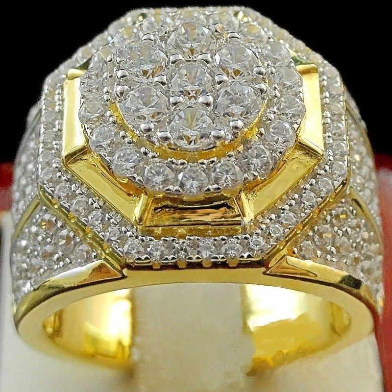 Modyle 2019 ใหม่แฟชั่น Hip Hop ผู้ชายแหวนทองสี Zircon แหวนกลมสำหรับผู้ชาย