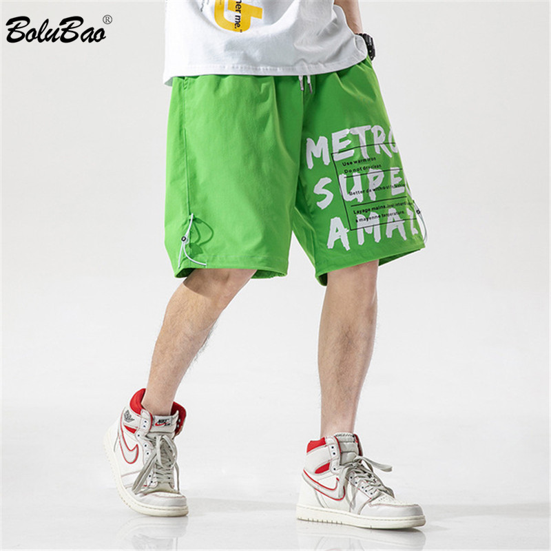 BOLUBAO Brand Men Casual Shorts Men's Fashion Drawstring Beach Shorts Summer New Letter Printing Shorts Male