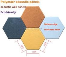 Jedno pudełko 10 sztuk kreatywność panele akustyczne z łbem sześciokątnym leczenia akustyczne panele przyjazny dla środowiska materiał poliestrowy panele ścienne akustyczne