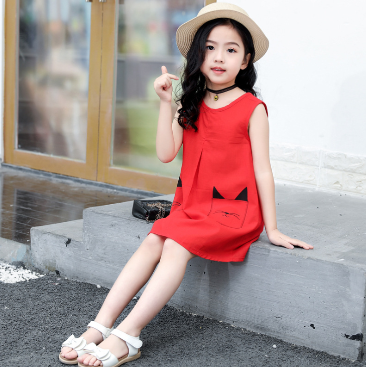 Girls 2020 Summer Dress For 8 10 12 14 Years Casual Girls Dress Clothes A Line Sleeveless Print Party Princess Beach Dress