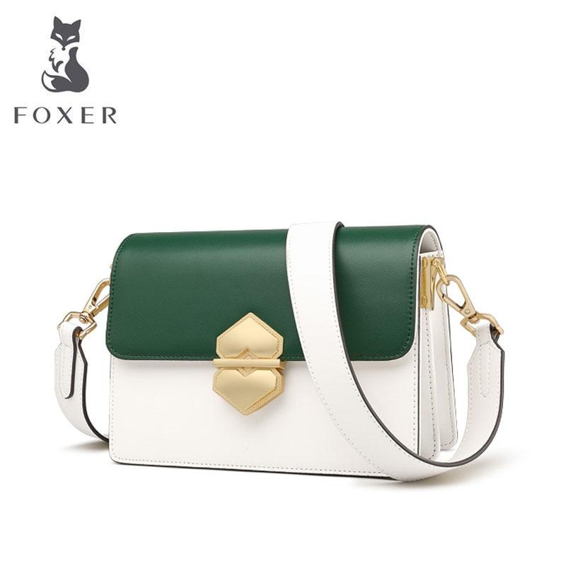 FOXER 2019 New Women leather bags Cowhide quality fashion patchwork women handbags women leather shoulder Crossbody bag 1