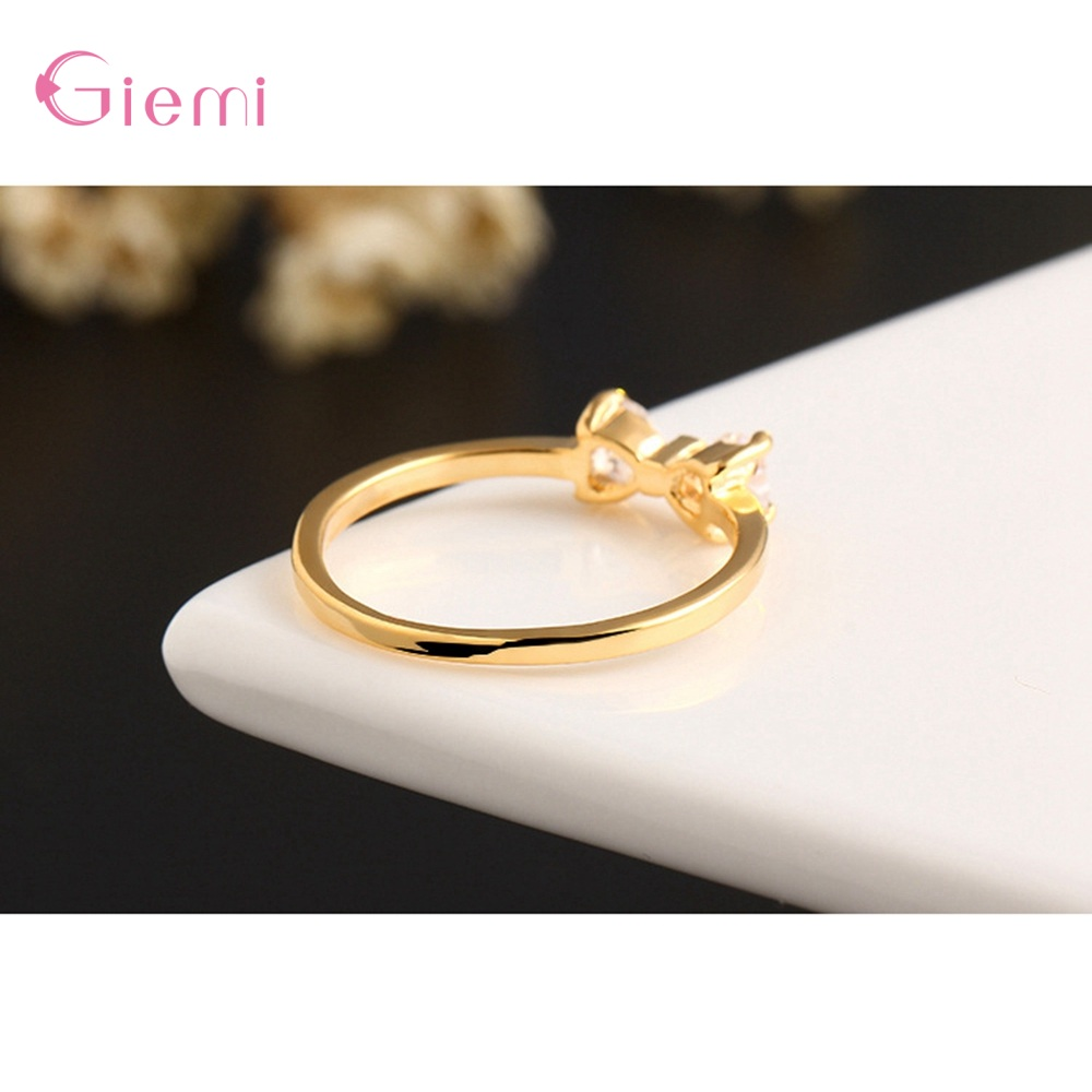 New Fashion Slim Finger Rings 925 Sterling Silver Bow Shape Cubic Zirconia Wedding/Engagement Party Rings Wholesale/Retail 4