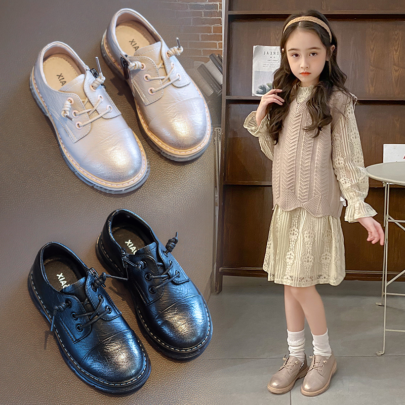 AAdct 2020 Princess Girls Leather Shoes Spring New Little Kids Shoes For Girls Brand Fashion Soft Sole Children Shoes