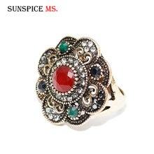 SUNSPICE MS, винтажное старое Золотое цветочное кольцо, турецкое женское этническое свадебное ювелирное изделие, свадебный подарок, индийский свадебный подарок