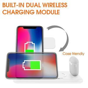 Image 3 - 15ワットワイヤレス充電器スタンド4 airpods用のステーション充電ドック1でプロリンゴの時計6 se 5 4 3 2チー高速iphone 11 xs xr × 8