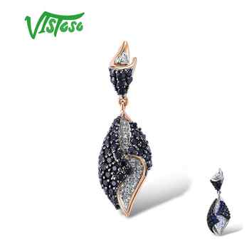 VISTOSO Gold Pendant For Women Genuine 14K 585 Rose White Gold Sparkling Diamond Blue Sapphire Delicate Wedding Fine Jewelry - DISCOUNT ITEM  49% OFF All Category