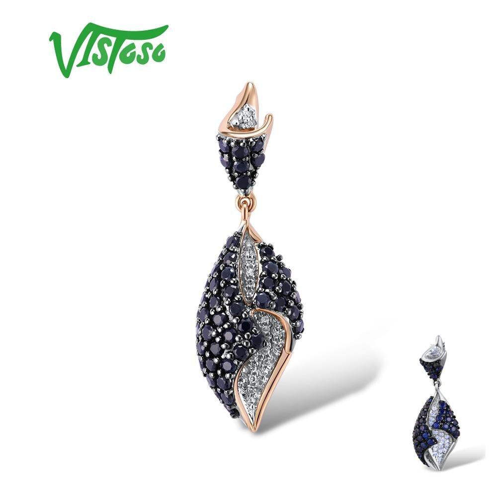VISTOSO pendentif en or pour femmes véritable 14K 585 or blanc Rose scintillant diamant bleu saphir délicat mariage bijoux fins