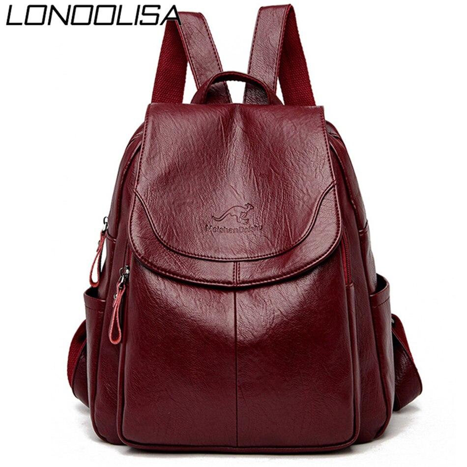 Bagpack Women Leather Backpack Designer Shoulder Bags For Women 2019 Back Pack School Bags For Teenage Girls Mochila Feminina