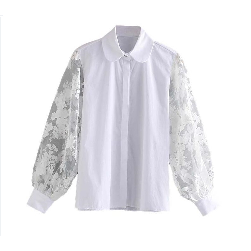 New Women Transparent Organza Sleeve Patchwork Casual White Blouse Female Turn Down Collar Shirts Office Chemise Tops LS6198